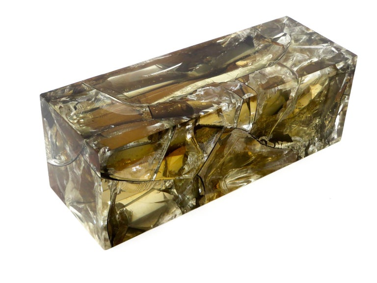 French Fractal Resin Olive Gold Sculpture by Pierre Giraudon For Sale 3
