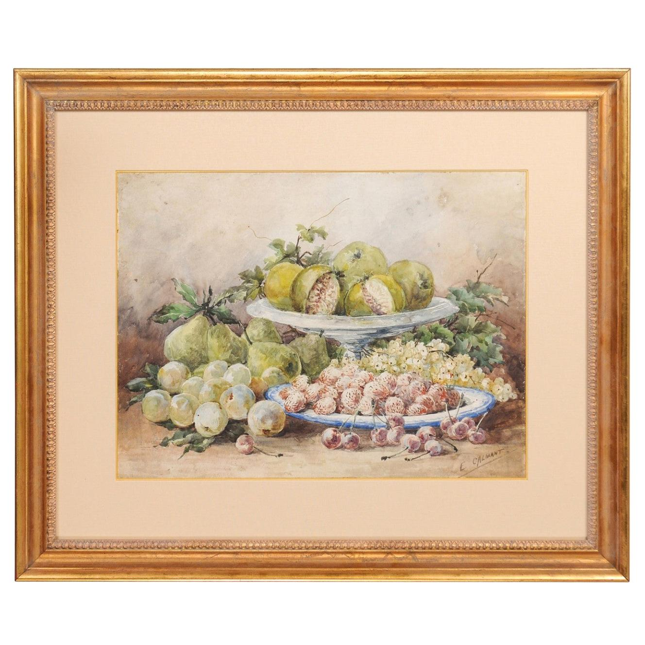 French Framed 19th Century Watercolor Depicting Fruits, Signed E Calmant