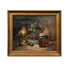 French Framed and Signed Oil on Canvas Still-Life Painting with Fruits and Honey