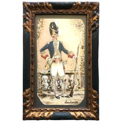 French Framed Aquarelle, of a Louis XVI Guard, Dated 1918, Signed Collineaux