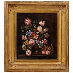 French Framed Oil on Canvas 19th Century Dutch School Style Floral Painting