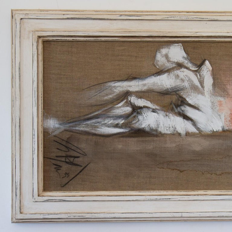 A framed oil on canvas painting of a stretching figure by Micky Pfau 1995, signed   Bought directly from the artist in the 1990s by Ken, for his own private collection. These paintings would look as a single piece of artwork but also en-masse. Ken