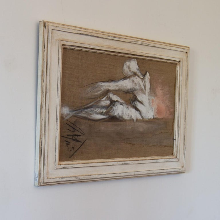 20th Century French Framed Oil on Canvas Painting by Micky Pfau, 1995 For Sale