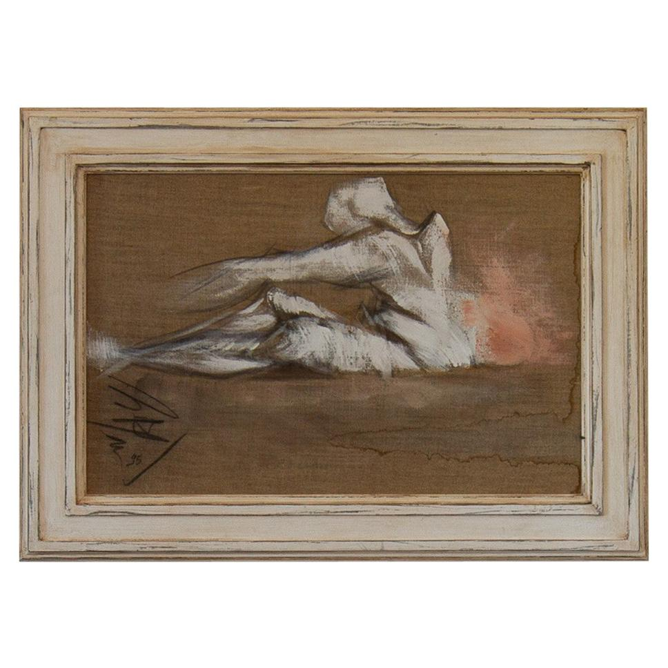 French Framed Oil on Canvas Painting by Micky Pfau, 1995
