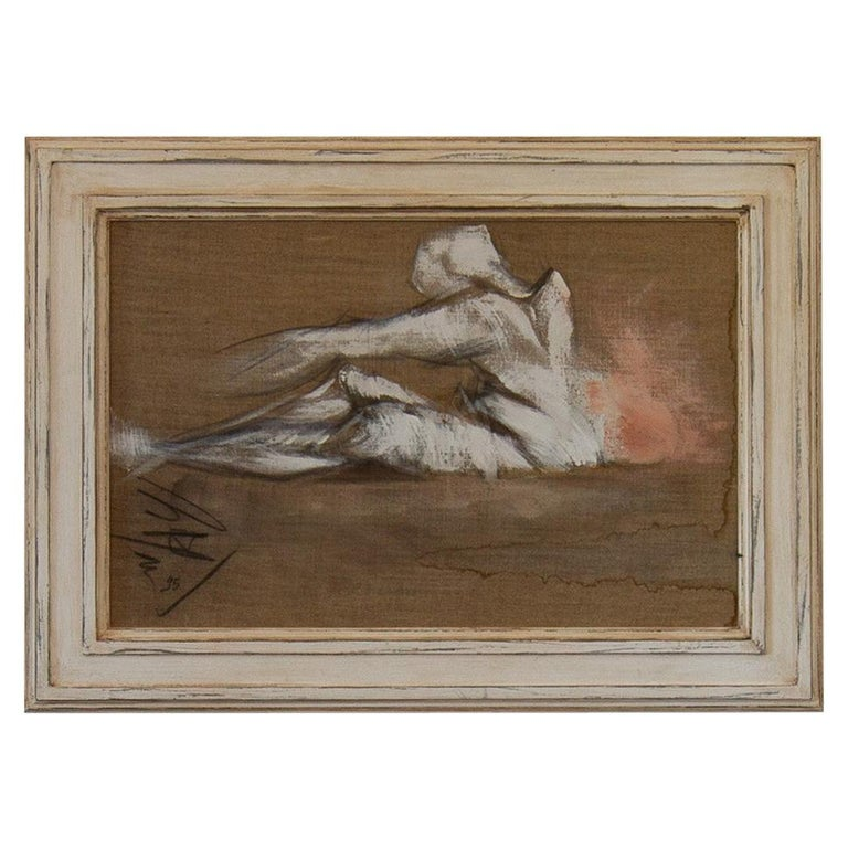 French Framed Oil on Canvas Painting by Micky Pfau, 1995 For Sale