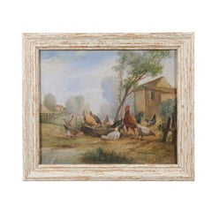 French Framed Oil on Canvas Painting of a Farmyard Scene with Hens and Rooster
