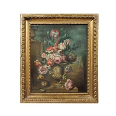 French Framed Still-Life Oil Painting Depicting a Bouquet of Flowers, circa 1850