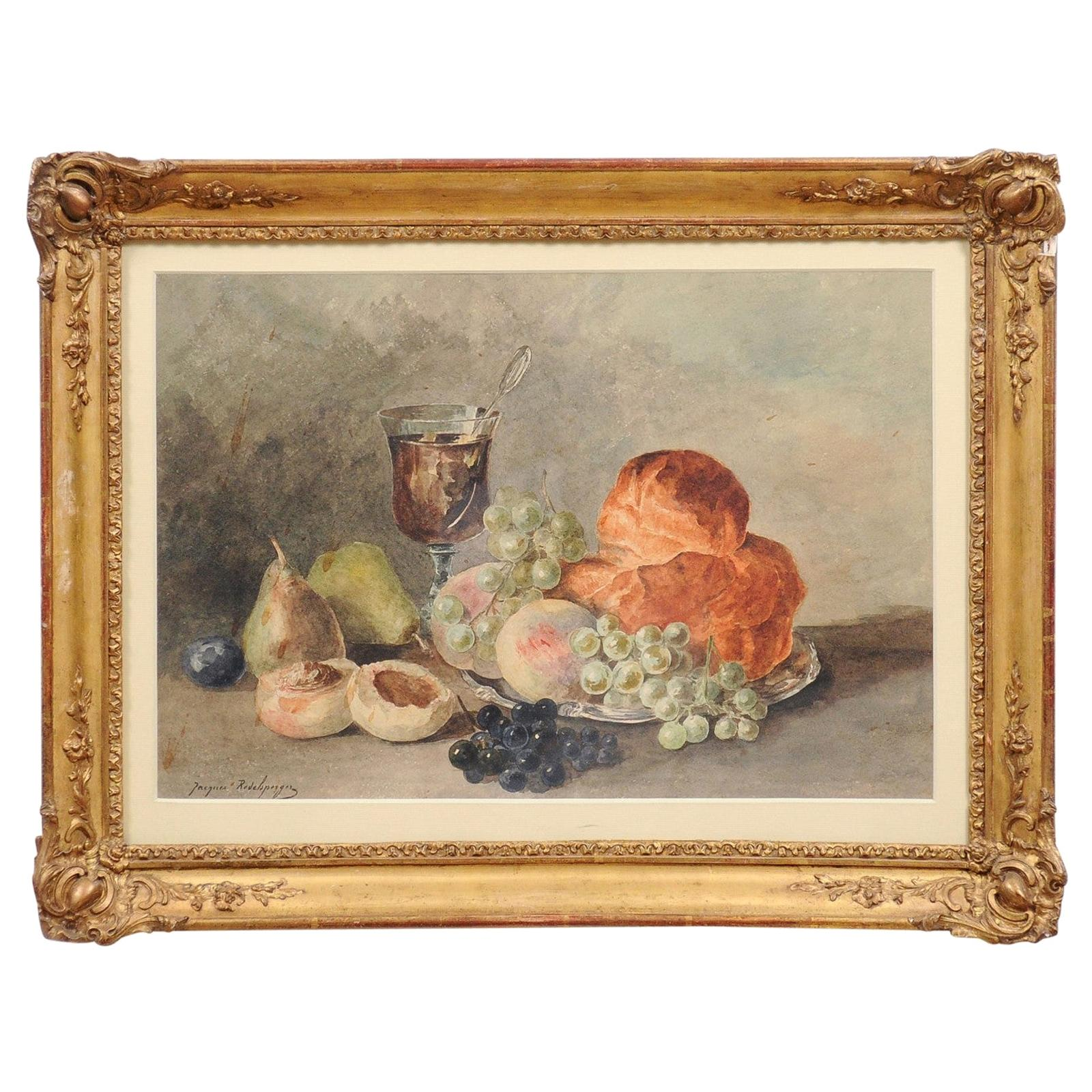French Framed Still-Life Watercolor Signed Jacques Redelsperger, circa 1887