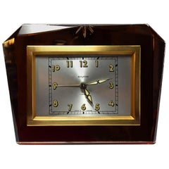 French Free Standing 1930s Art Deco Mirror Clock