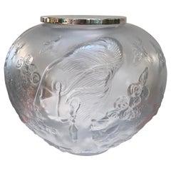 French Frosted Crystal Bulbous Vase Signed Erte Franko, 1984