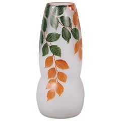 French Frosted Glass Vase with Hand Painted Foliage Motifs, 1900s