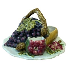 French Majolica Trompe L'Oeil Server With Fruits, circa 1880