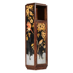 French Furniture 1940s Marquetry with Bird Decor Art Deco Cabinet Console