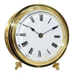 French Fusee Lacquered Brass Original Enamel Dial 8 Day Desk Clock, 1890s