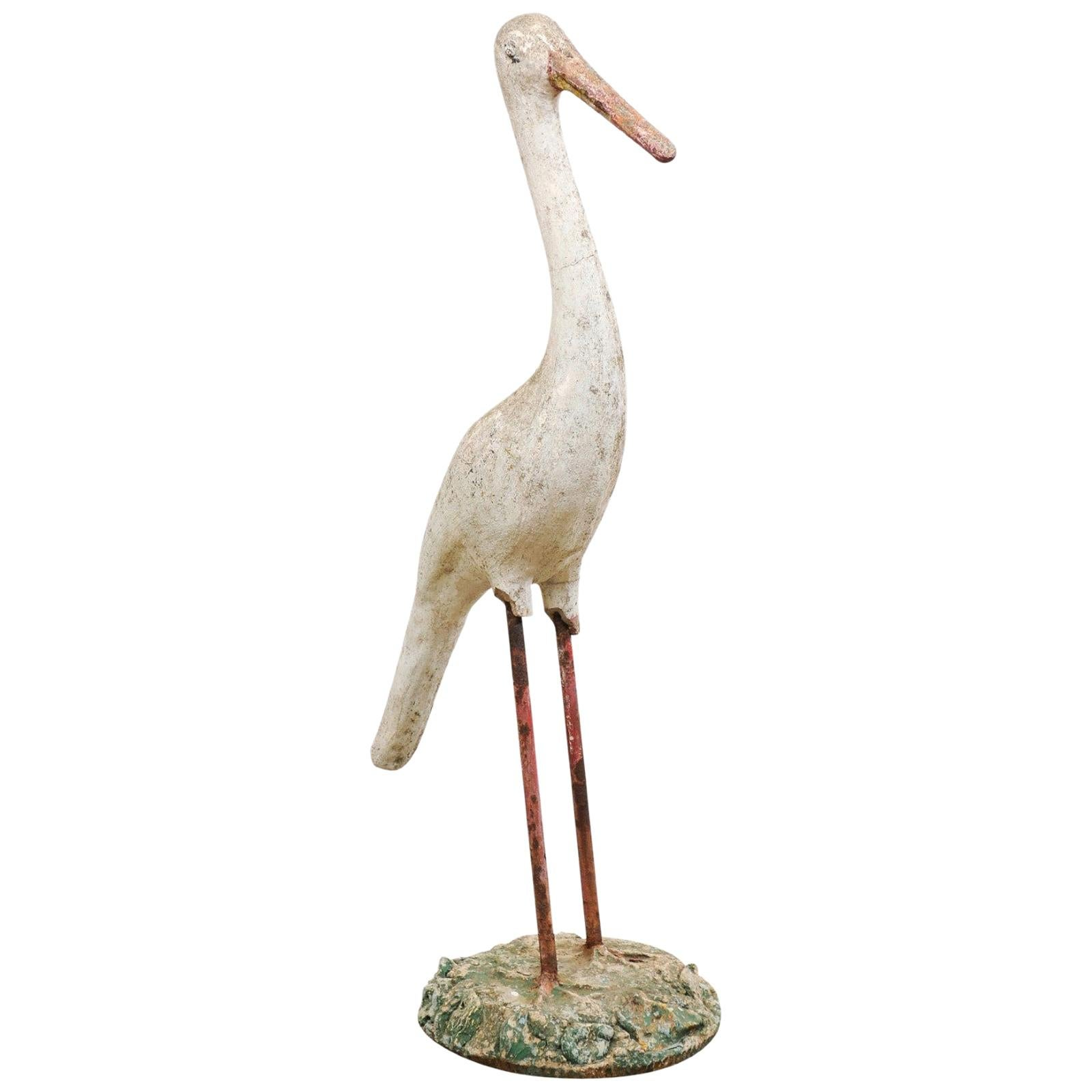 French Garden Statue of a Standing Crane