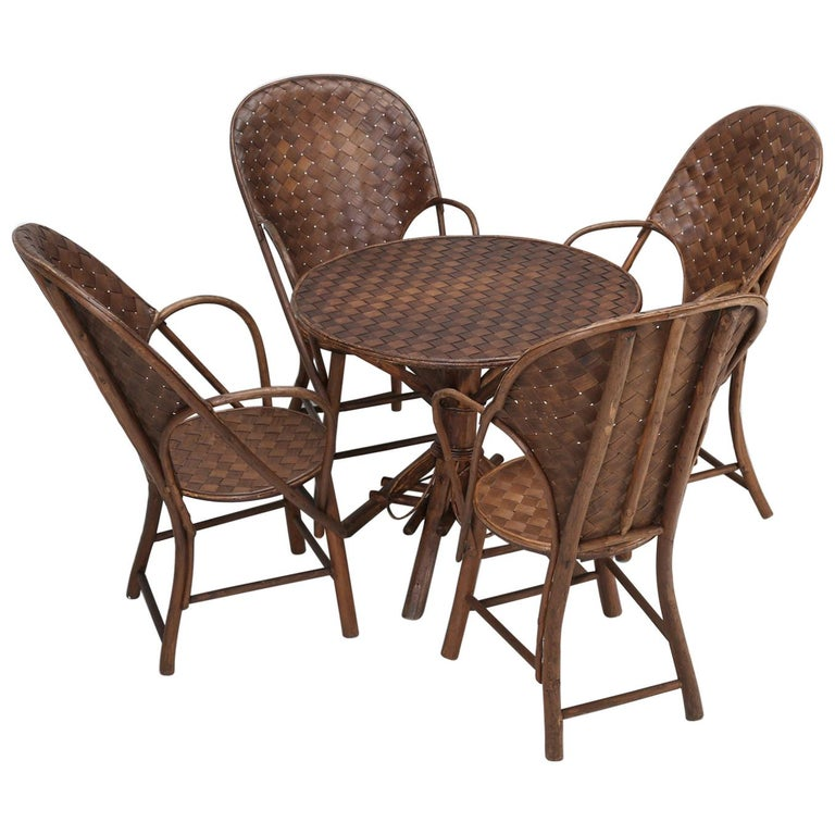 French Garden Table with '4' Matching Very Comfortable Armchairs For Sale