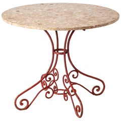 French Garden Table with Antique Wrought Iron Base, circa 1900