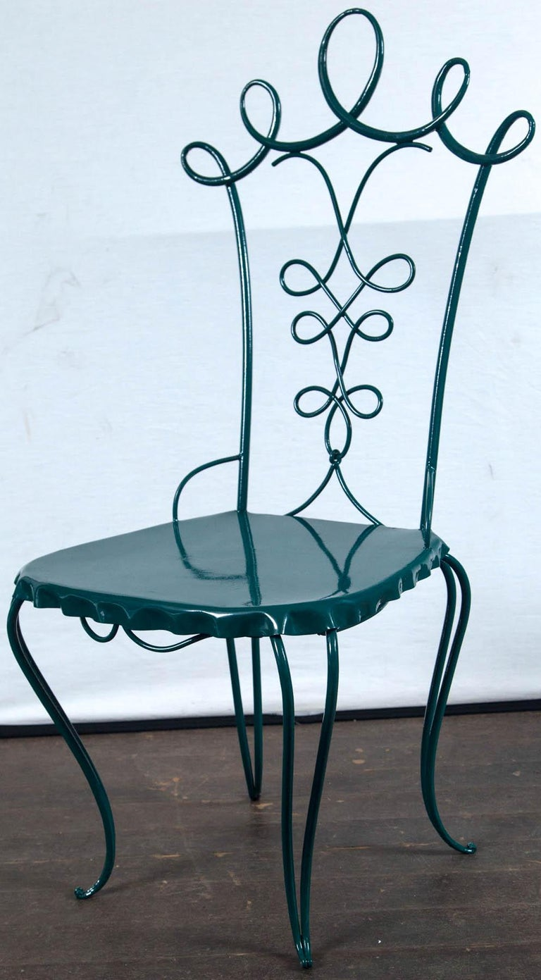 French Garden Table with Four Chairs After René Prou For Sale 2