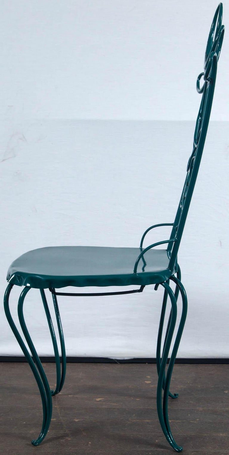 French Garden Table with Four Chairs After René Prou For Sale 3