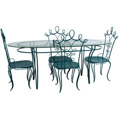 French Garden Table with Four Chairs After René Prou