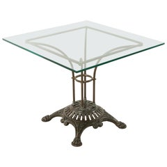French Garden Table with Pierced Iron Base and Square Glass Top, circa 1900