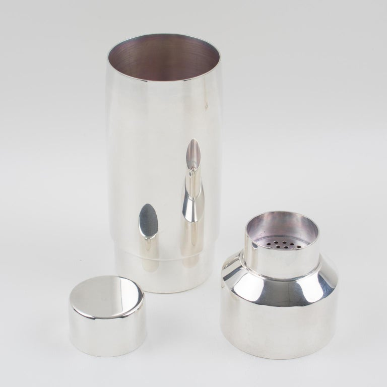 Mid-20th Century French Gelb Paris 1950s Modernist Silver Plate Cocktail or Martini Shaker For Sale