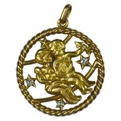 French Gemini Zodiac Gold Diamond Pendant Charm
