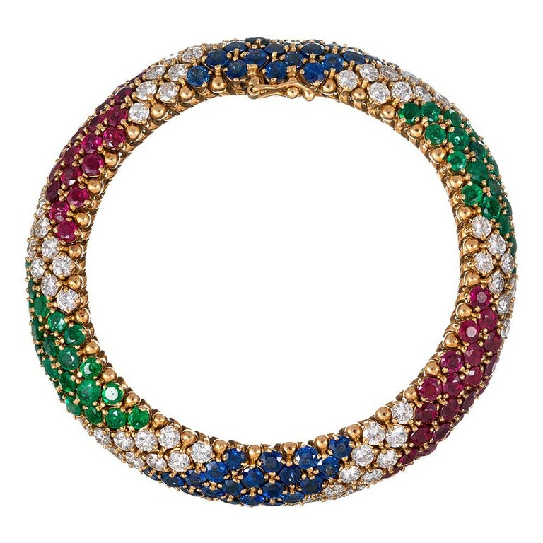 "Round Cut French Gemstone ""Barber Pole"" Bracelet For Sale"
