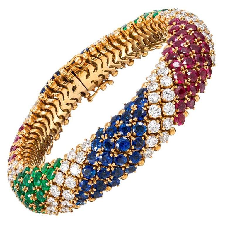 """French Gemstone """"Barber Pole"""" Bracelet For Sale"""