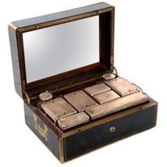 French Gentleman's Sterling Vanity Kit in Ebony Case by Louis Aucoc, circa 1865