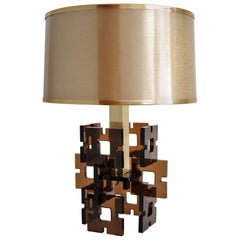 French Geometric Plexiglass and Brass Table Lamp, 1970s