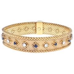 French George L'enfant Diamond Sapphire 18 Karat Bracelet
