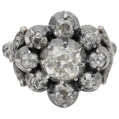 French 3.60 Carat Old Mine Diamond Important Antique Cluster Ring