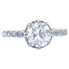 French GIA 1.36 Carat Old European Cut Diamond Platinum Engagement Ring