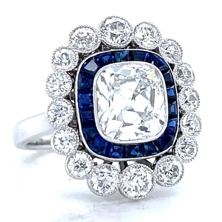 Art Deco French GIA 1.79 Carat Old Mine Cut Diamond Sapphire Cluster Ring For Sale