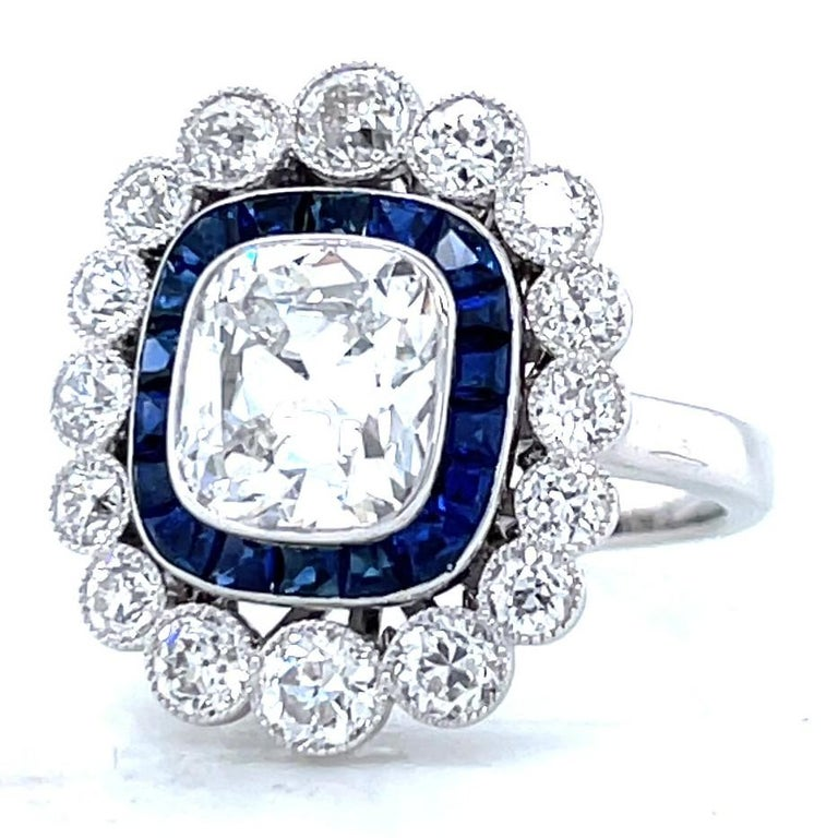 French GIA 1.79 Carat Old Mine Cut Diamond Sapphire Cluster Ring In Excellent Condition For Sale In Beverly Hills, CA