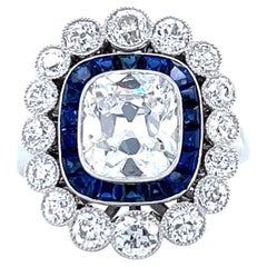 French GIA 1.79 Carat Old Mine Cut Diamond Sapphire Cluster Ring