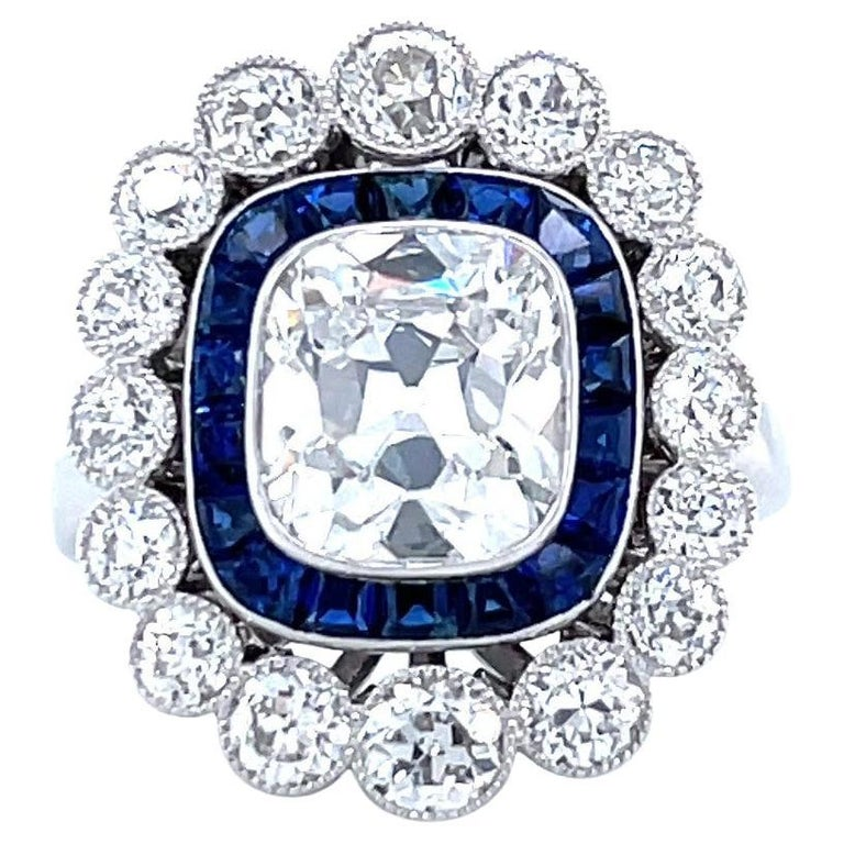 French GIA 1.79 Carat Old Mine Cut Diamond Sapphire Cluster Ring For Sale