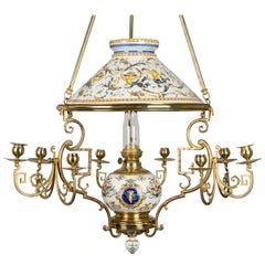 French Gien Faience and Brass Oil Lamp Chandelier