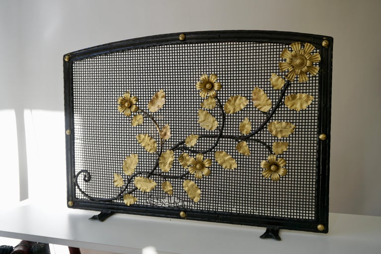 Hollywood Regency French Gild Fire Screen For Sale