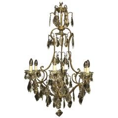 French Gilded 7-Light Birdcage Antique Chandelier