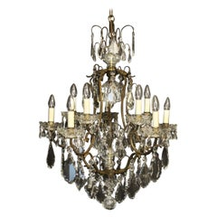 French Gilded Birdcage Crystal Chandelier