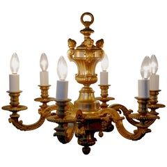 French Gilded Brass 6-Branch Rococo Chandelier