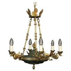 French Gilded Brass Empire 6-Light Chandelier