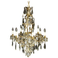 French Gilded Bronze and Crystal 13-Light Chandelier