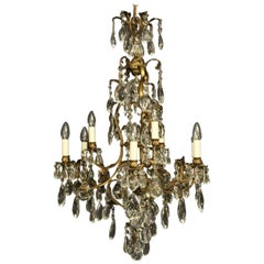 French Gilded Bronze & Crystal 10 Light Birdcage Antique Chandelier