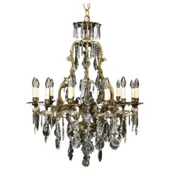 French Gilded Bronze & Crystal 12 Light Birdcage Antique Chandelier
