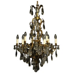 French Gilded Bronze and Crystal 13-Light Antique Chandelier
