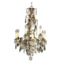 French Gilded Bronze & Crystal 13 Light Birdcage Antique Chandelier