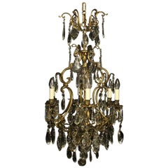 French Gilded Bronze & Crystal 7 Light Antique Chandelier